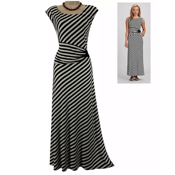 Roz & Ali Dresses | 24w 3xblack White Striped Maxi Dress Plus Size ...